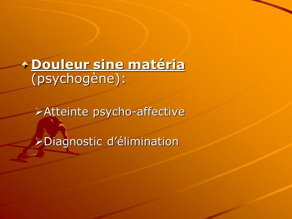 Douleur sine matéria (psychogène): Atteinte psycho-affective Atteinte psycho-affective Diagnostic délimination Diagnostic délimination