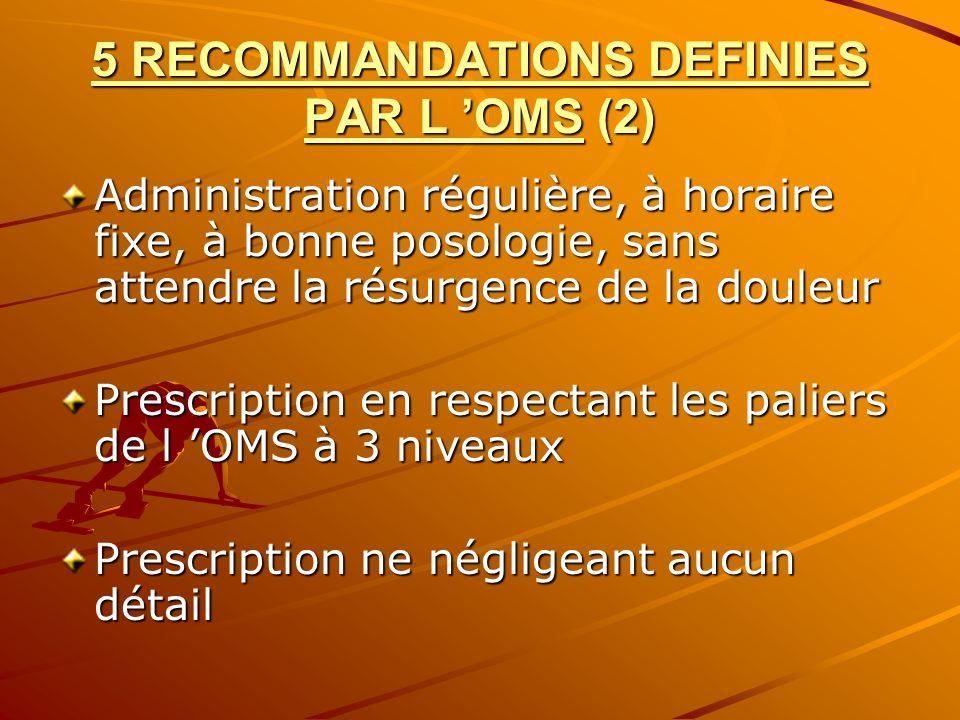 5 RECOMMANDATIONS DEFINIES PAR L OMS (2) Administration régulière, à horaire fixe, à bonne posologie, sans attendre la résurgence de la douleur Prescr