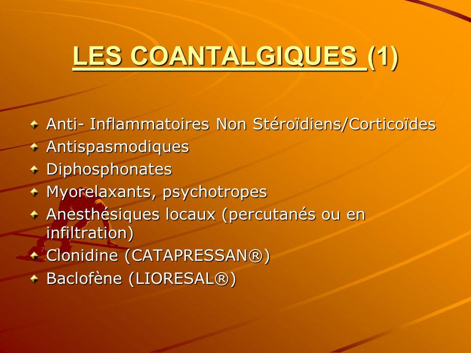 LES COANTALGIQUES (1) Anti- Inflammatoires Non Stéroïdiens/Corticoïdes AntispasmodiquesDiphosphonates Myorelaxants, psychotropes Anesthésiques locaux