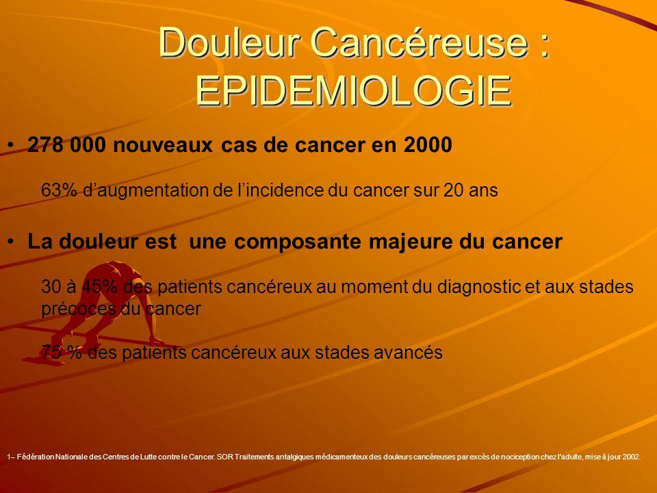 278 000 nouveaux cas de cancer en 2000 63% daugmentation de lincidence du cancer sur 20 ans La douleur est une composante majeure du cancer 30 à 45% d