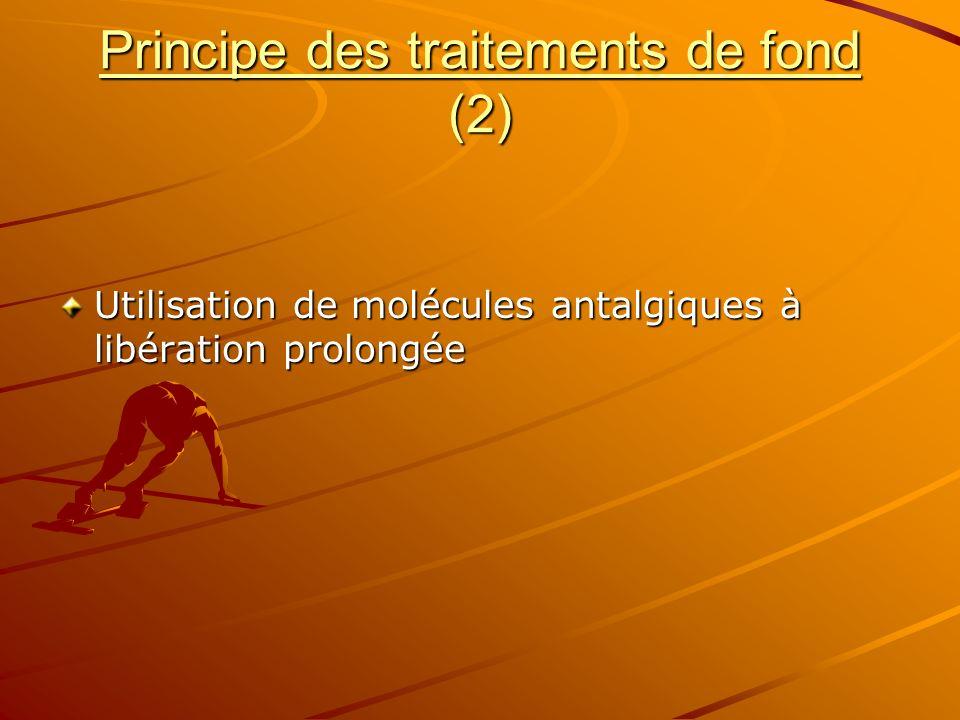 Principe des traitements de fond (2) Utilisation de molécules antalgiques à libération prolongée