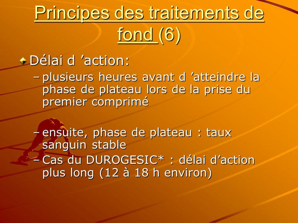 Principes des traitements de fond (6) Délai d action: –plusieurs heures avant d atteindre la phase de plateau lors de la prise du premier comprimé –en