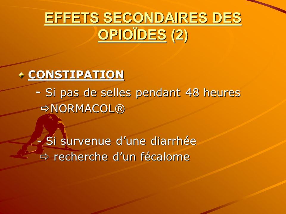 EFFETS SECONDAIRES DES OPIOÏDES (2) CONSTIPATION - Si pas de selles pendant 48 heures - Si pas de selles pendant 48 heures NORMACOL® NORMACOL® - Si su