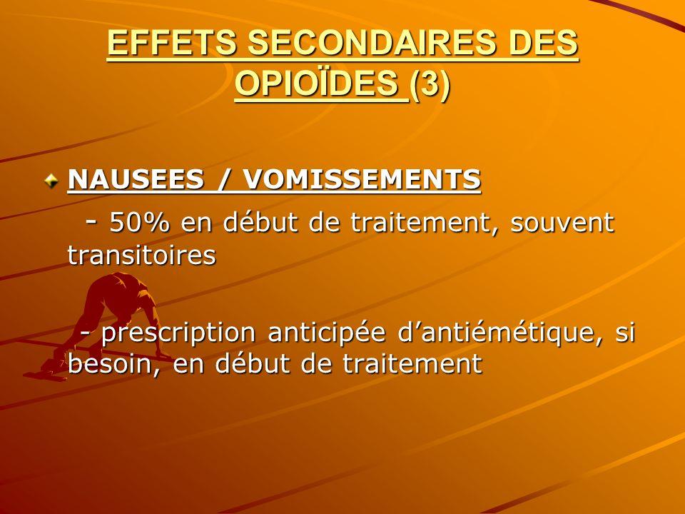 EFFETS SECONDAIRES DES OPIOÏDES (3) NAUSEES / VOMISSEMENTS - 50% en début de traitement, souvent transitoires - 50% en début de traitement, souvent tr