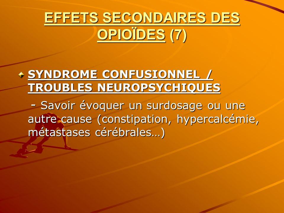 EFFETS SECONDAIRES DES OPIOÏDES (7) SYNDROME CONFUSIONNEL / TROUBLES NEUROPSYCHIQUES - Savoir évoquer un surdosage ou une autre cause (constipation, h