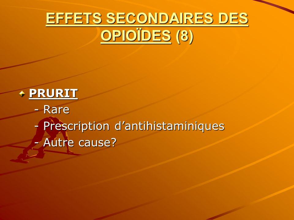 EFFETS SECONDAIRES DES OPIOÏDES (8) PRURIT - Rare - Rare - Prescription dantihistaminiques - Prescription dantihistaminiques - Autre cause? - Autre ca