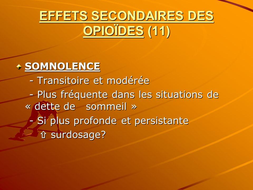 EFFETS SECONDAIRES DES OPIOÏDES (11) SOMNOLENCE - Transitoire et modérée - Transitoire et modérée - Plus fréquente dans les situations de « dette de s