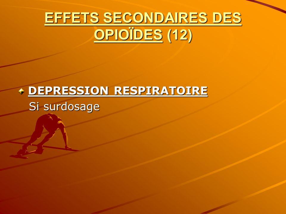 EFFETS SECONDAIRES DES OPIOÏDES (12) DEPRESSION RESPIRATOIRE Si surdosage Si surdosage