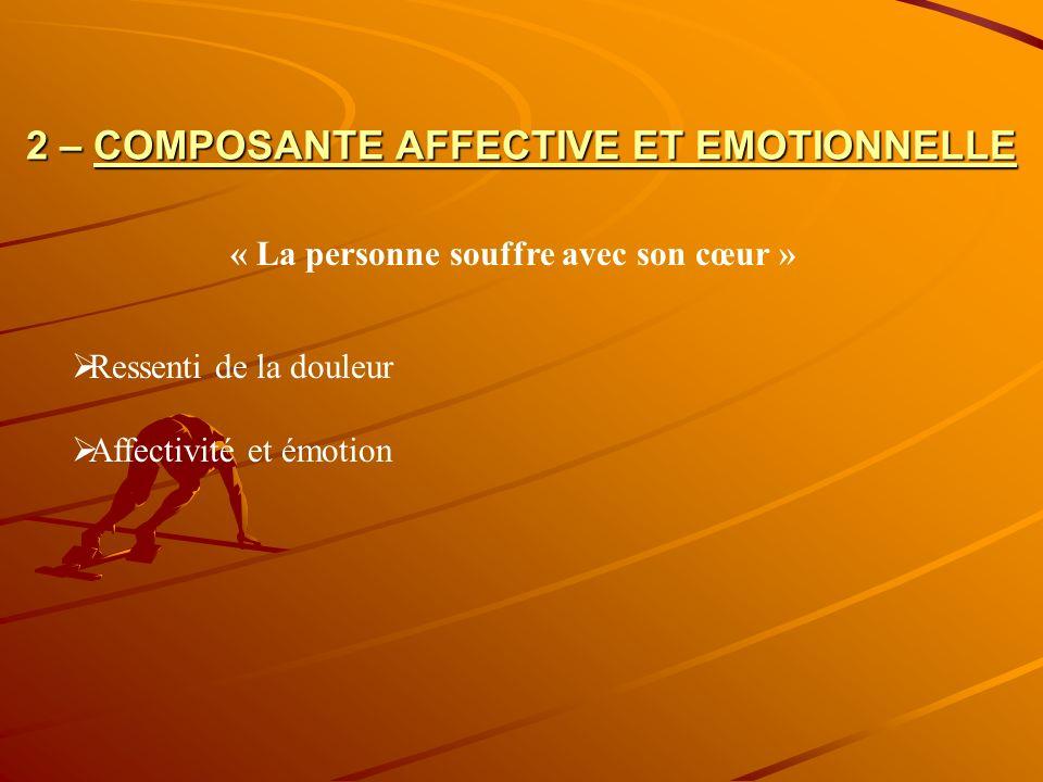 2 – COMPOSANTE AFFECTIVE ET EMOTIONNELLE Ressenti de la douleur Affectivité et émotion « La personne souffre avec son cœur »