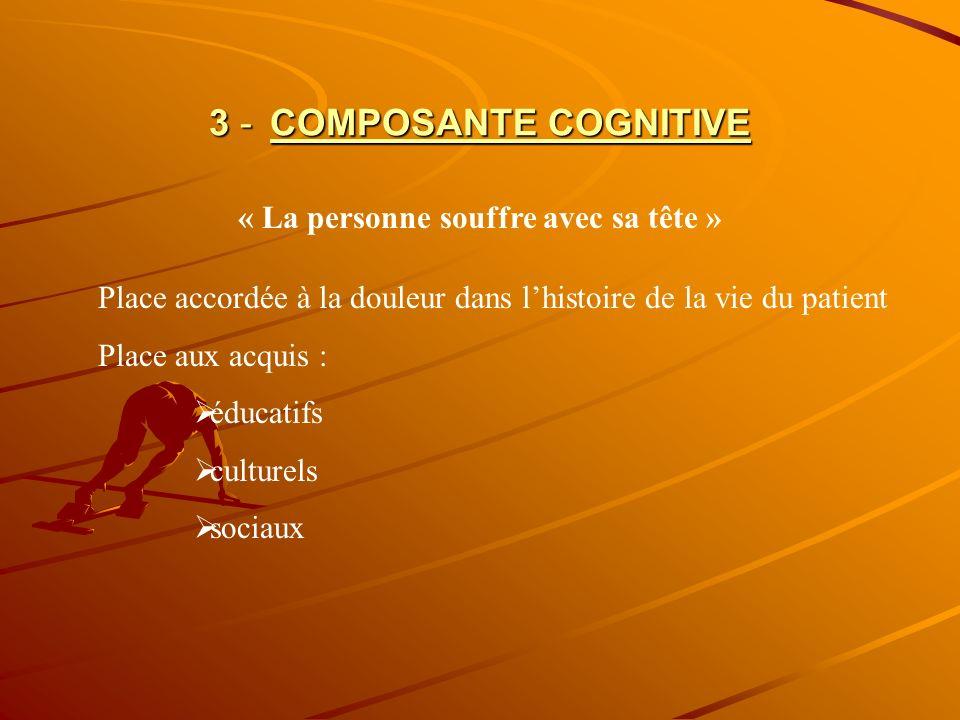 3 - COMPOSANTE COGNITIVE « La personne souffre avec sa tête » Place accordée à la douleur dans lhistoire de la vie du patient Place aux acquis : éduca