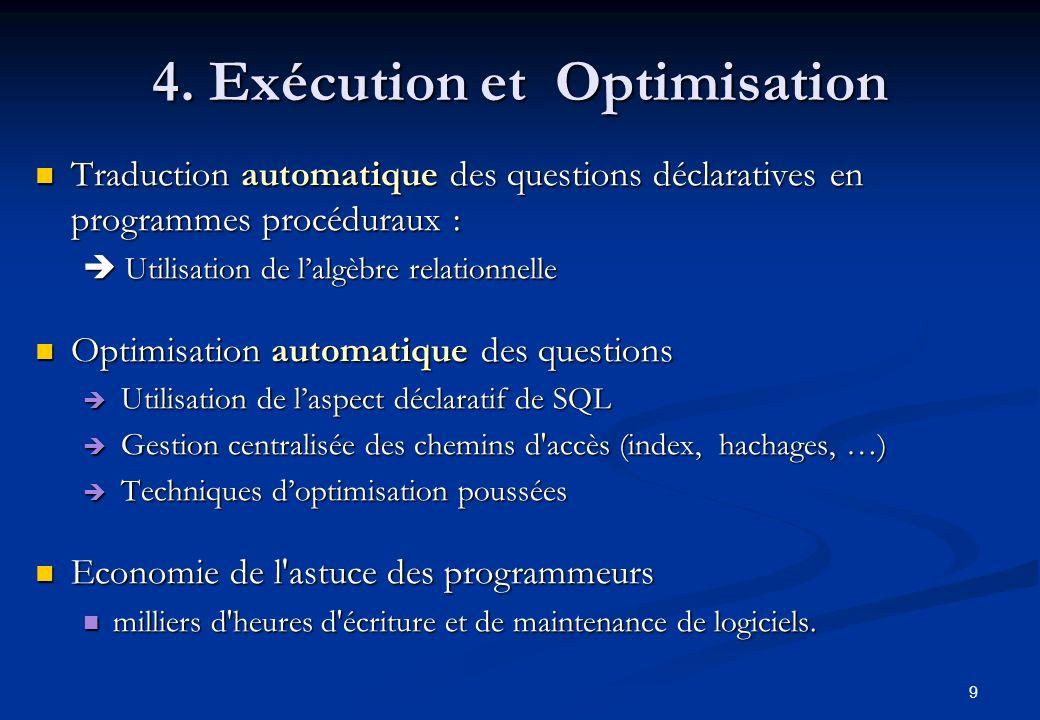 9 4. Exécution et Optimisation Traduction automatique des questions déclaratives en programmes procéduraux : Traduction automatique des questions décl