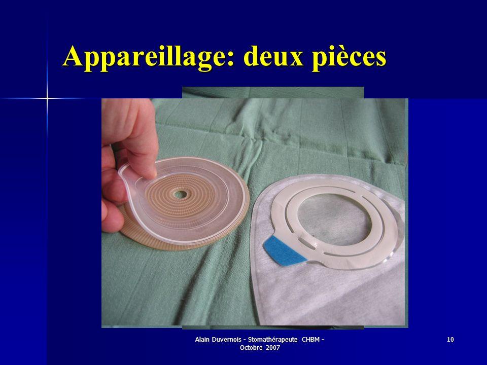 Alain Duvernois - Stomathérapeute CHBM - Octobre 2007 10 Appareillage: deux pièces