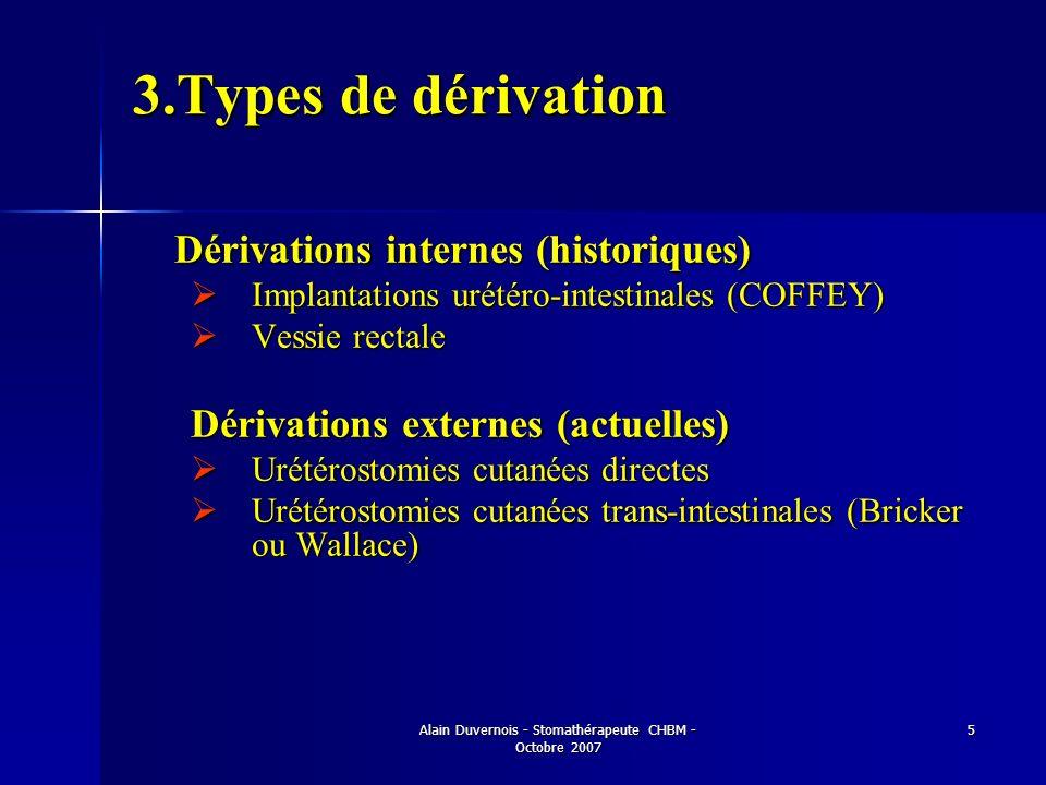 Alain Duvernois - Stomathérapeute CHBM - Octobre 2007 5 3.Types de dérivation Dérivations internes (historiques) Dérivations internes (historiques) Im