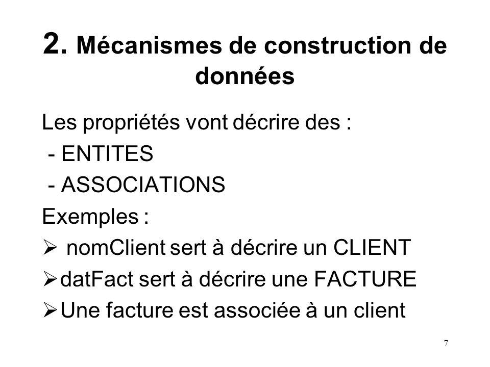 7 2. Mécanismes de construction de données Les propriétés vont décrire des : - ENTITES - ASSOCIATIONS Exemples : nomClient sert à décrire un CLIENT da