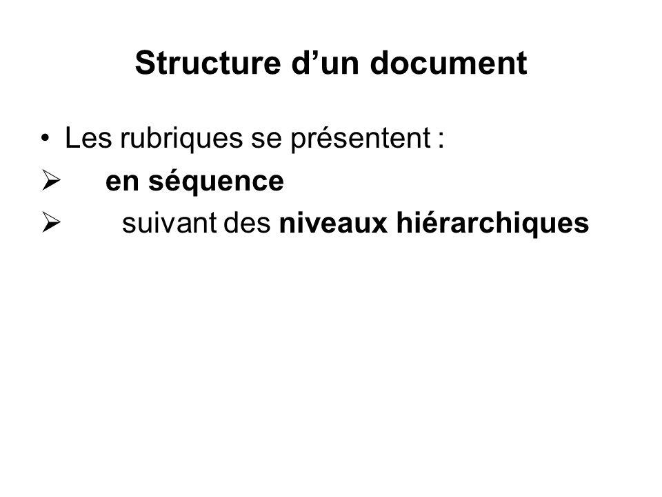 Structure dun document Les rubriques se présentent : en séquence suivant des niveaux hiérarchiques
