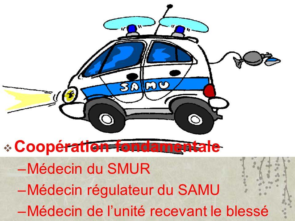Coopération fondamentale –Médecin du SMUR –Médecin régulateur du SAMU –Médecin de lunité recevant le blessé