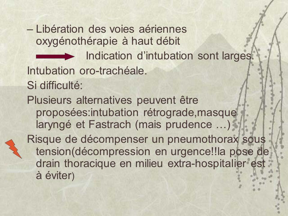–Libération des voies aériennes oxygénothérapie à haut débit Indication dintubation sont larges. Intubation oro-trachéale. Si difficulté: Plusieurs al