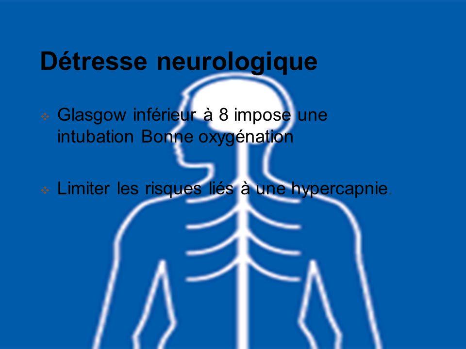 Détresse neurologique Glasgow inférieur à 8 impose une intubation Bonne oxygénation Limiter les risques liés à une hypercapnie.