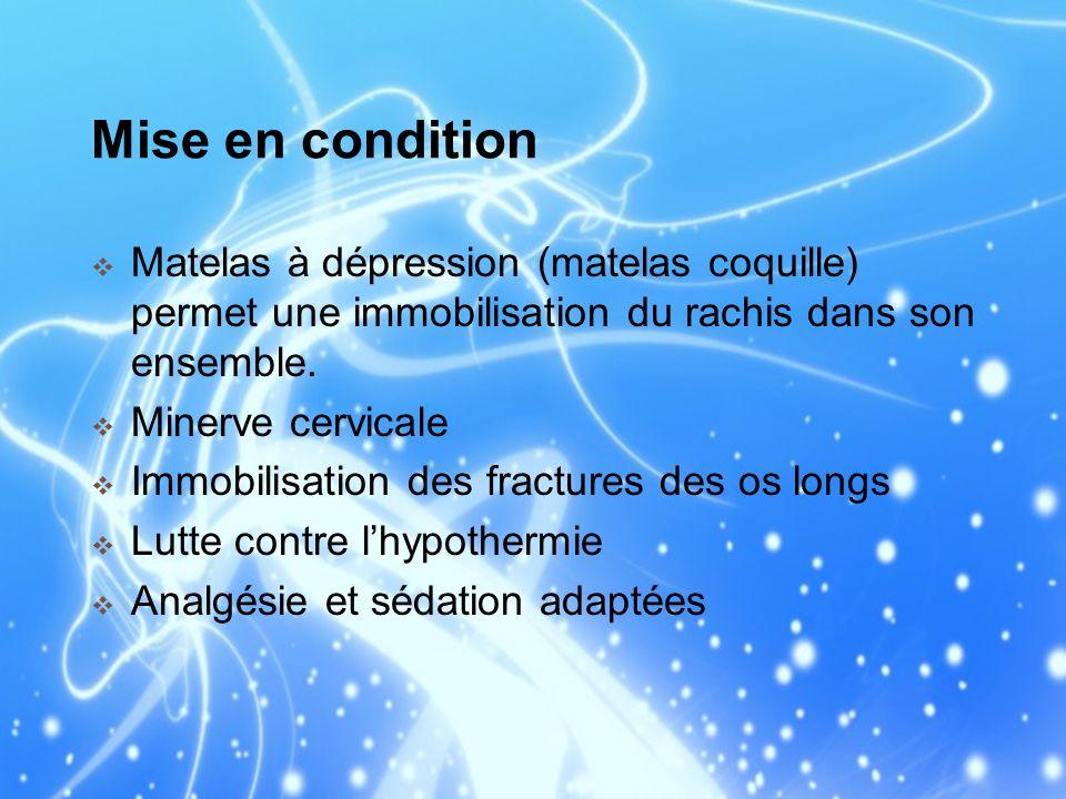 Mise en condition Matelas à dépression (matelas coquille) permet une immobilisation du rachis dans son ensemble. Minerve cervicale Immobilisation des