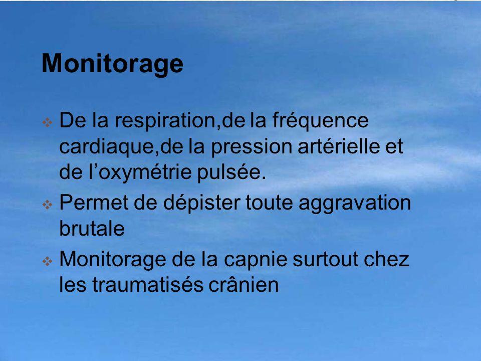 Monitorage De la respiration,de la fréquence cardiaque,de la pression artérielle et de loxymétrie pulsée. Permet de dépister toute aggravation brutale