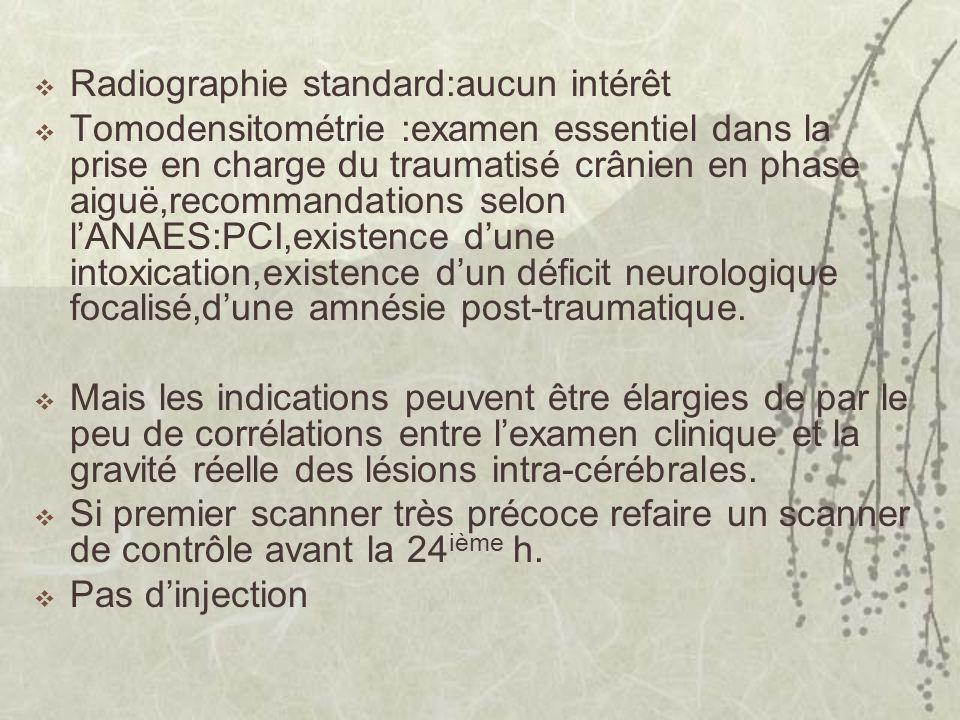 Radiographie standard:aucun intérêt Tomodensitométrie :examen essentiel dans la prise en charge du traumatisé crânien en phase aiguë,recommandations s