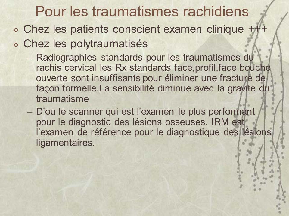 Pour les traumatismes rachidiens Chez les patients conscient examen clinique +++ Chez les polytraumatisés –Radiographies standards pour les traumatism