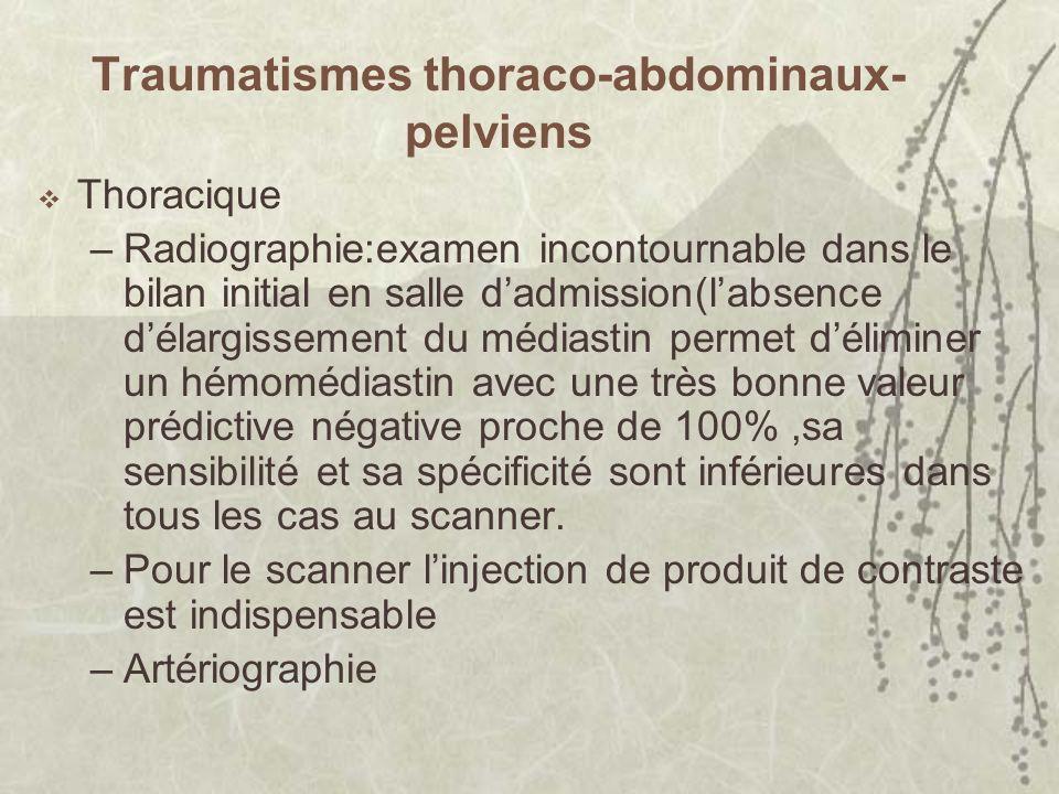 Traumatismes thoraco-abdominaux- pelviens Thoracique –Radiographie:examen incontournable dans le bilan initial en salle dadmission(labsence délargisse