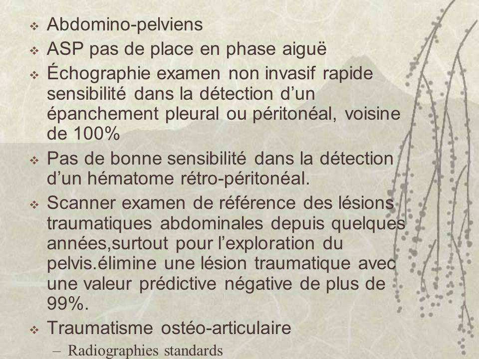 Abdomino-pelviens ASP pas de place en phase aiguë Échographie examen non invasif rapide sensibilité dans la détection dun épanchement pleural ou périt