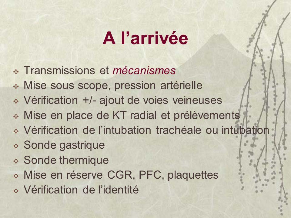 A larrivée Transmissions et mécanismes Mise sous scope, pression artérielle Vérification +/- ajout de voies veineuses Mise en place de KT radial et pr
