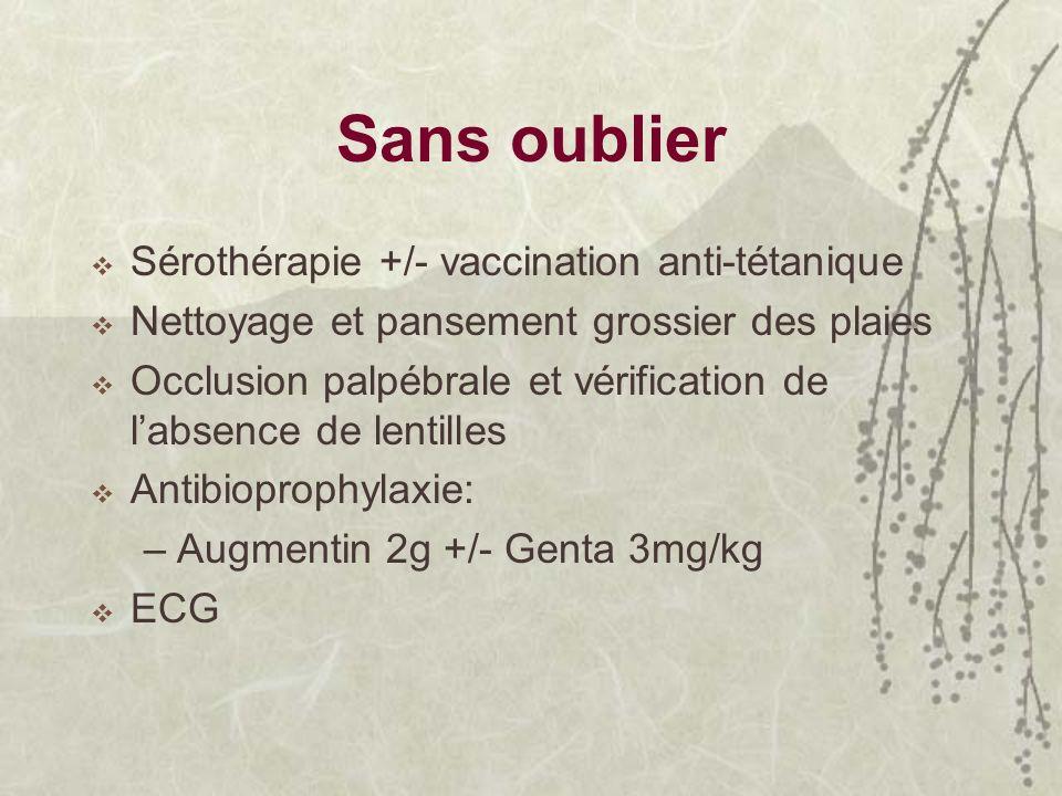 Sans oublier Sérothérapie +/- vaccination anti-tétanique Nettoyage et pansement grossier des plaies Occlusion palpébrale et vérification de labsence d