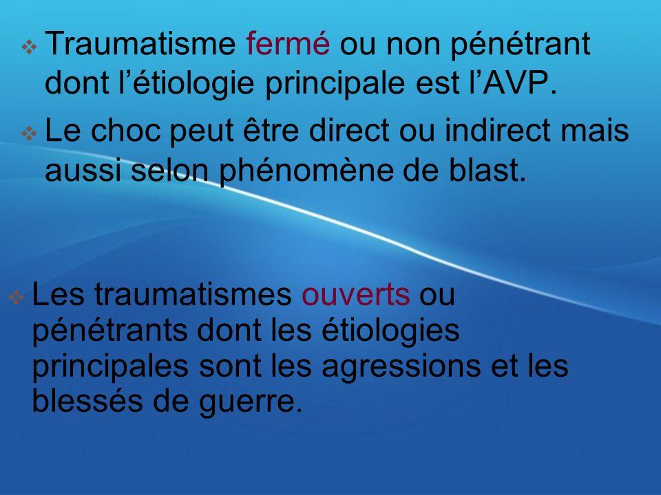 Traumatisme fermé ou non pénétrant dont létiologie principale est lAVP. Le choc peut être direct ou indirect mais aussi selon phénomène de blast. Les