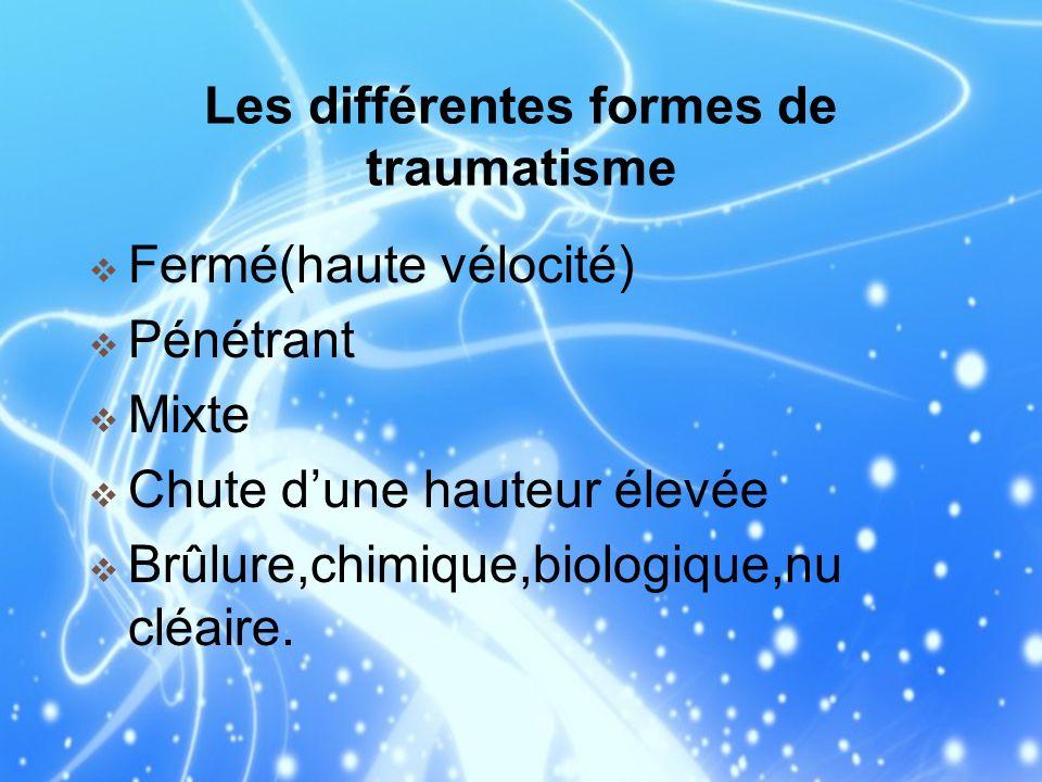 Les différentes formes de traumatisme Fermé(haute vélocité) Pénétrant Mixte Chute dune hauteur élevée Brûlure,chimique,biologique,nu cléaire.