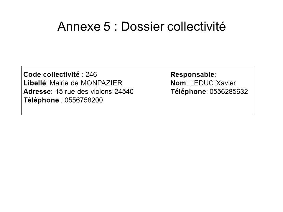 Annexe 5 : Dossier collectivité Code collectivité : 246 Libellé: Mairie de MONPAZIER Adresse: 15 rue des violons 24540 Téléphone : 0556758200 Responsa