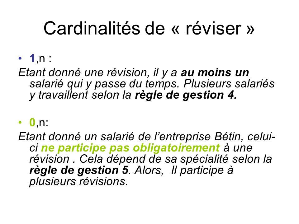 Cardinalités de « réviser » 1,n : Etant donné une révision, il y a au moins un salarié qui y passe du temps. Plusieurs salariés y travaillent selon la