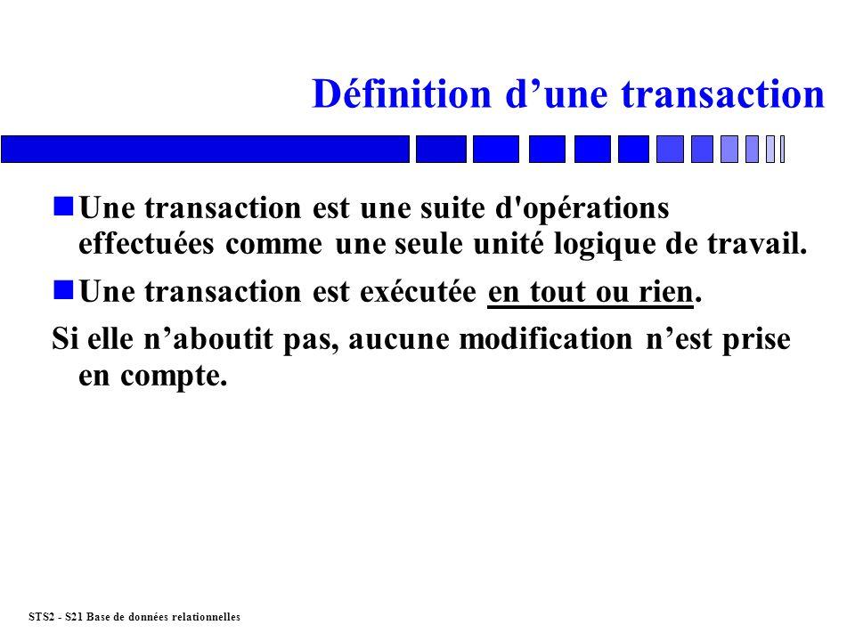 STS2 - S21 Base de données relationnelles Lancer une transaction nTransaction implicite Début de la transaction = démarrage du logiciel Début de la transaction = fin de la transaction précédente nTransaction explicite sur SQLServer, PostgreSQL BEGIN TRANSACTION
