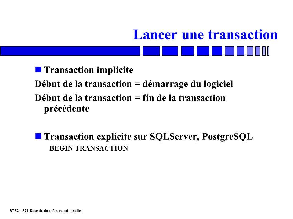 STS2 - S21 Base de données relationnelles Fin dune transaction n Valider la transaction Commande COMMIT nAnnuler la transaction Erreur en cours de transaction : pb de place disque… Commande ROLLBACK nAnnulation possible grâce au segment UNDO