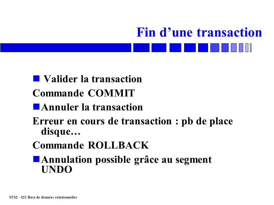 STS2 - S21 Base de données relationnelles Fin dune transaction n Valider la transaction Commande COMMIT nAnnuler la transaction Erreur en cours de tra