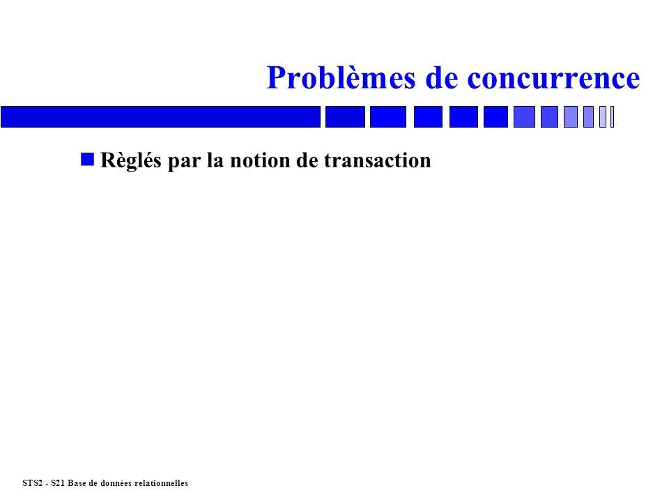 STS2 - S21 Base de données relationnelles Les verrous n LOCK nMécanisme interne de mise en œuvre des transactions nVerrous exclusifs nVerrous partagés nGranularité du verrouillage base, table, ligne, page