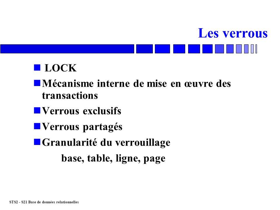STS2 - S21 Base de données relationnelles Les verrous n LOCK nMécanisme interne de mise en œuvre des transactions nVerrous exclusifs nVerrous partagés