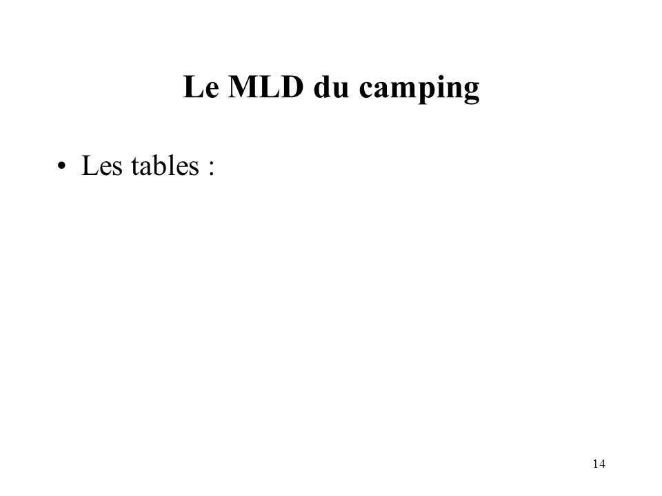 14 Le MLD du camping Les tables :