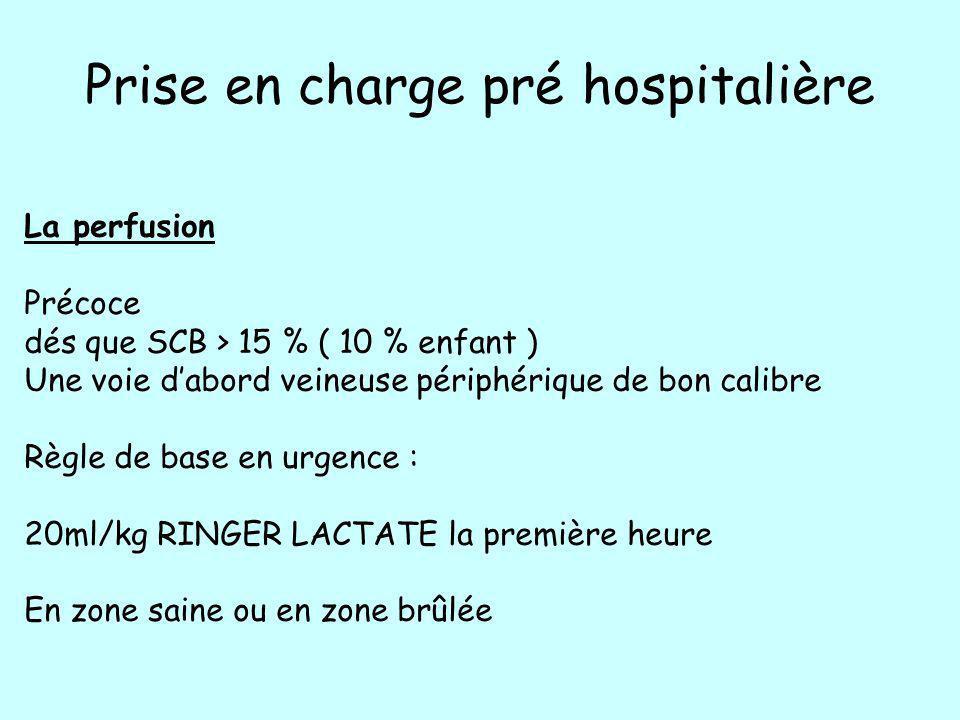 Prise en charge pré hospitalière La perfusion Précoce dés que SCB > 15 % ( 10 % enfant ) Une voie dabord veineuse périphérique de bon calibre Règle de