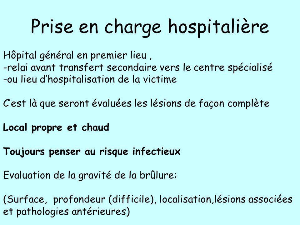 Prise en charge hospitalière Hôpital général en premier lieu, -relai avant transfert secondaire vers le centre spécialisé -ou lieu dhospitalisation de