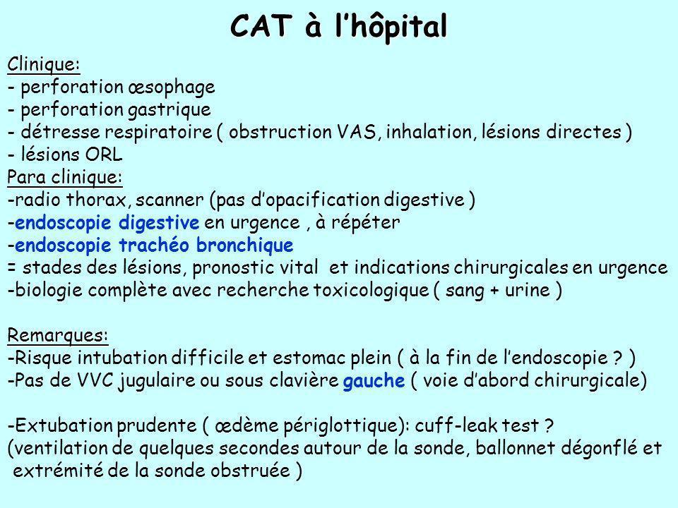 CAT à lhôpital Clinique: - perforation œsophage - perforation gastrique - détresse respiratoire ( obstruction VAS, inhalation, lésions directes ) - lé