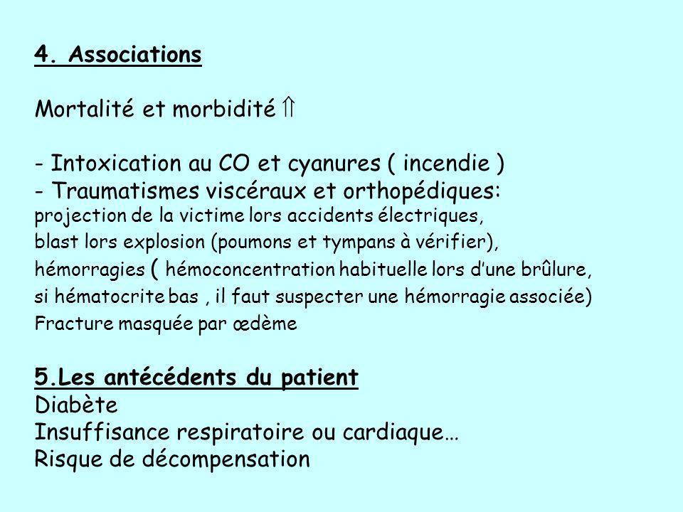 4. Associations Mortalité et morbidité - Intoxication au CO et cyanures ( incendie ) - Traumatismes viscéraux et orthopédiques: projection de la victi