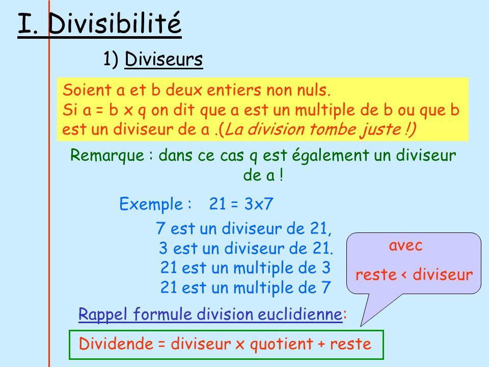 I. Divisibilité 1) Diviseurs Soient a et b deux entiers non nuls. Si a = b x q on dit que a est un multiple de b ou que b est un diviseur de a.(La div