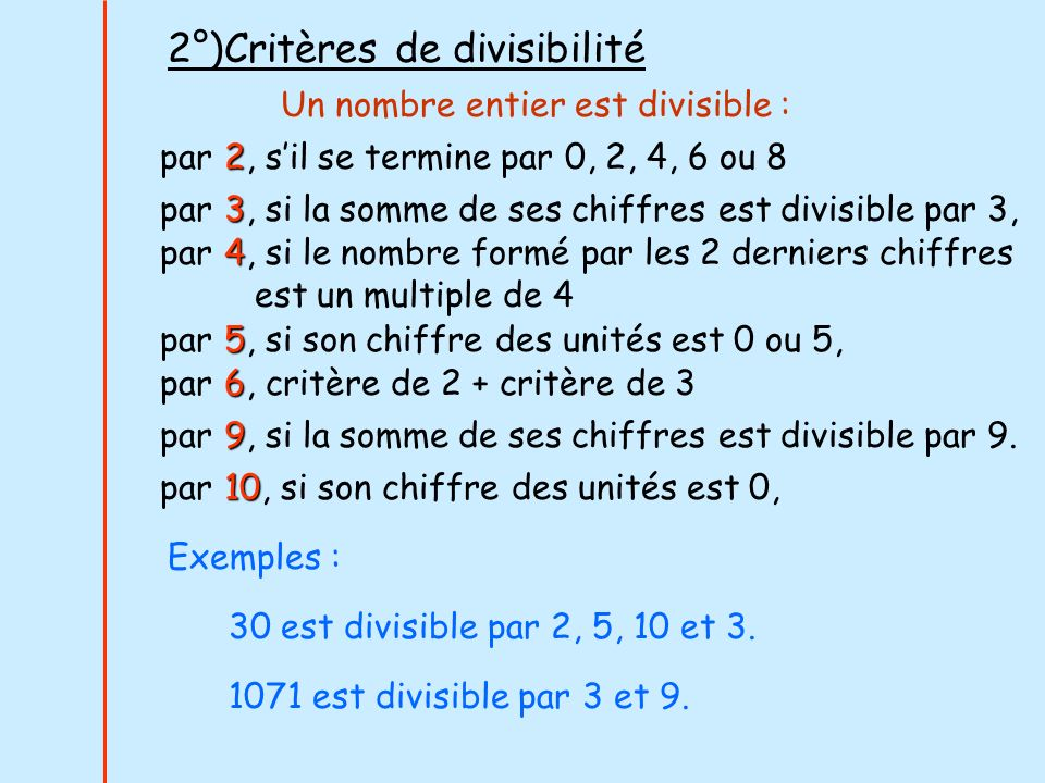 2°)Critères de divisibilité Un nombre entier est divisible : 2 par 2, sil se termine par 0, 2, 4, 6 ou 8 5 par 5, si son chiffre des unités est 0 ou 5