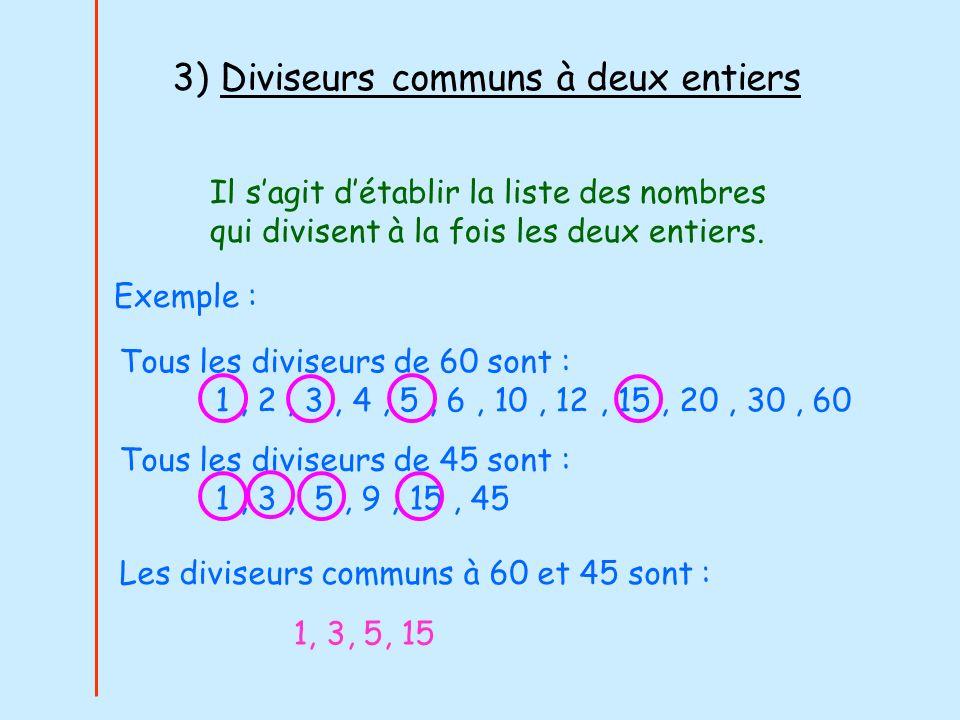 3) Diviseurs communs à deux entiers Il sagit détablir la liste des nombres qui divisent à la fois les deux entiers. Exemple : Tous les diviseurs de 60