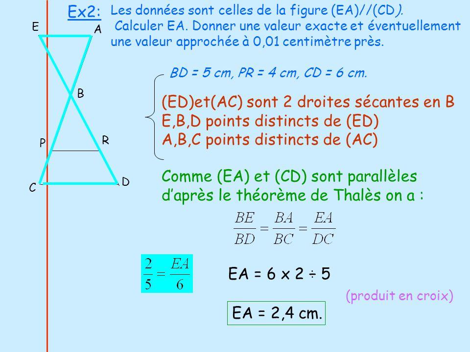 E D C P R B A (ED)et(AC) sont 2 droites sécantes en B E,B,D points distincts de (ED) A,B,C points distincts de (AC) Comme (EA) et (CD) sont parallèles