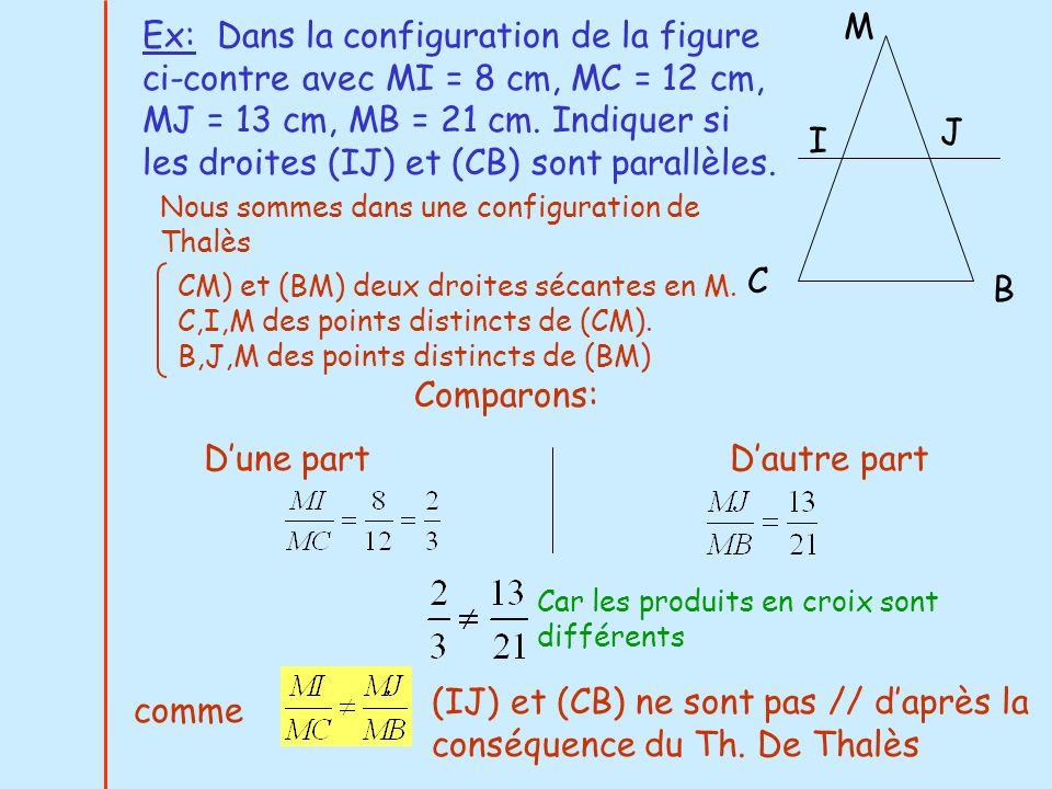 Ex: Dans la configuration de la figure ci-contre avec MI = 8 cm, MC = 12 cm, MJ = 13 cm, MB = 21 cm. Indiquer si les droites (IJ) et (CB) sont parallè