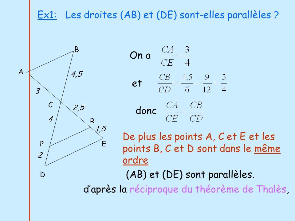 Ex1: Les droites (AB) et (DE) sont-elles parallèles ? On a et De plus les points A, C et E et les points B, C et D sont dans le même ordre daprès la r
